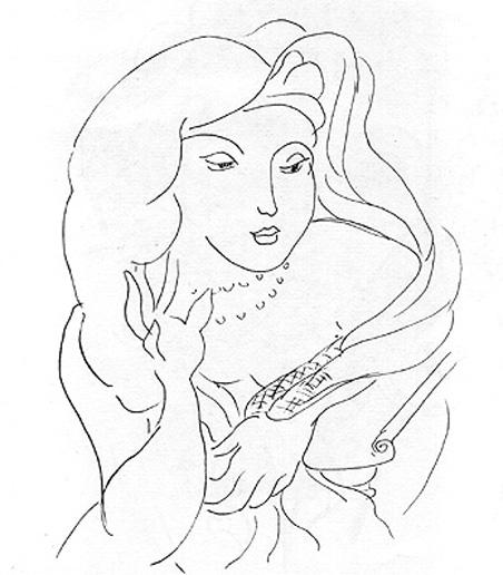 Matisse Contour Line Drawing : Matisse face